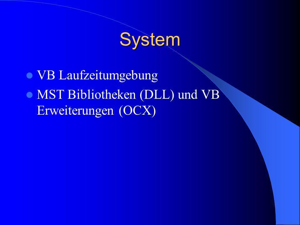 System VB Laufzeitumgebung MST Bibliotheken (DLL) und VB Erweiterungen (OCX)