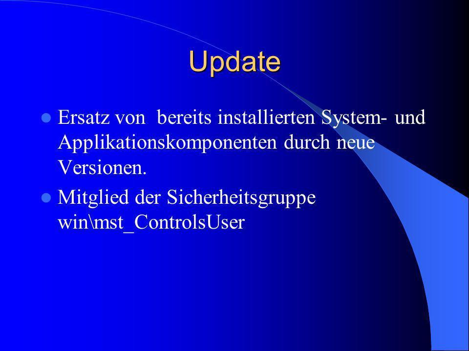 Update Ersatz von bereits installierten System- und Applikationskomponenten durch neue Versionen.
