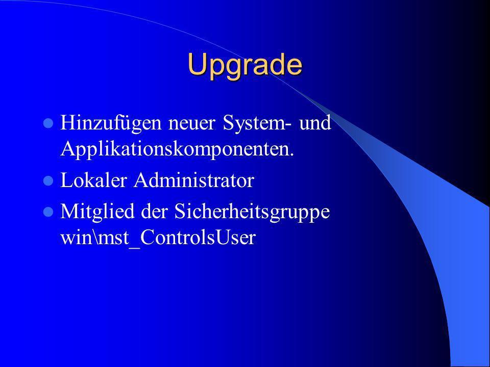Upgrade Hinzufügen neuer System- und Applikationskomponenten.