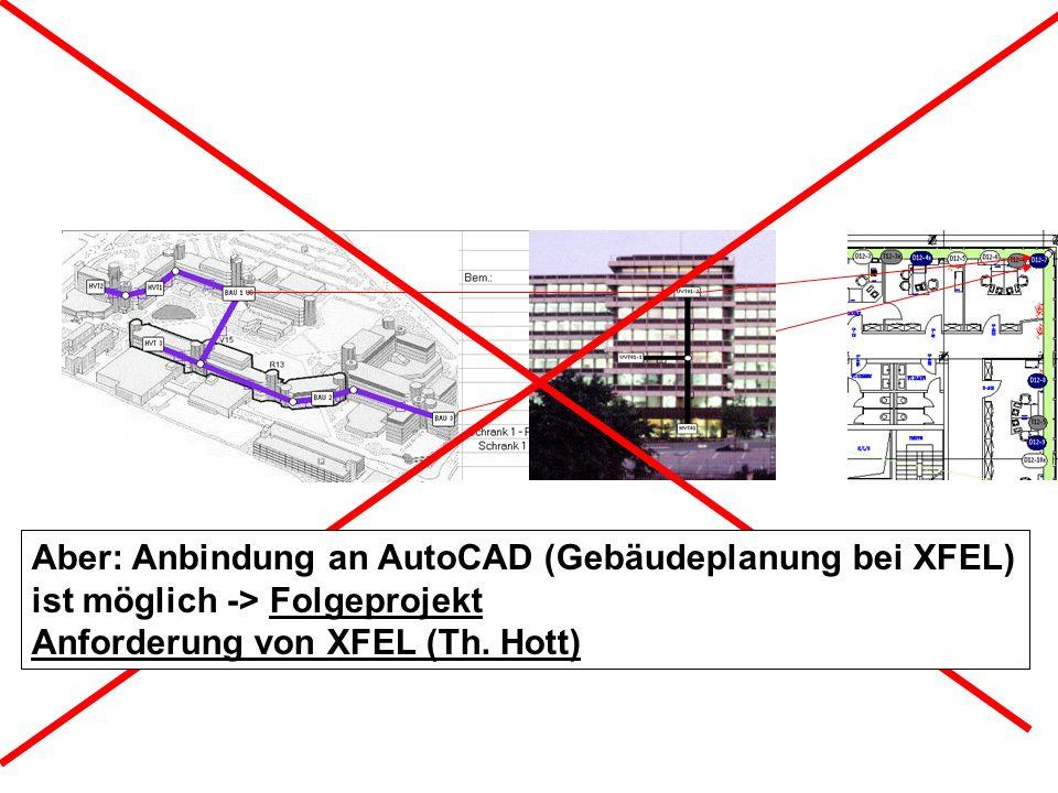 Aber: Anbindung an AutoCAD (Gebäudeplanung bei XFEL) ist möglich -> Folgeprojekt Anforderung von XFEL (Th. Hott)
