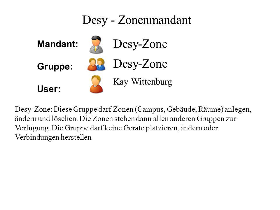 Desy-Zone Kay Wittenburg Desy - Zonenmandant Desy-Zone: Diese Gruppe darf Zonen (Campus, Gebäude, Räume) anlegen, ändern und löschen. Die Zonen stehen