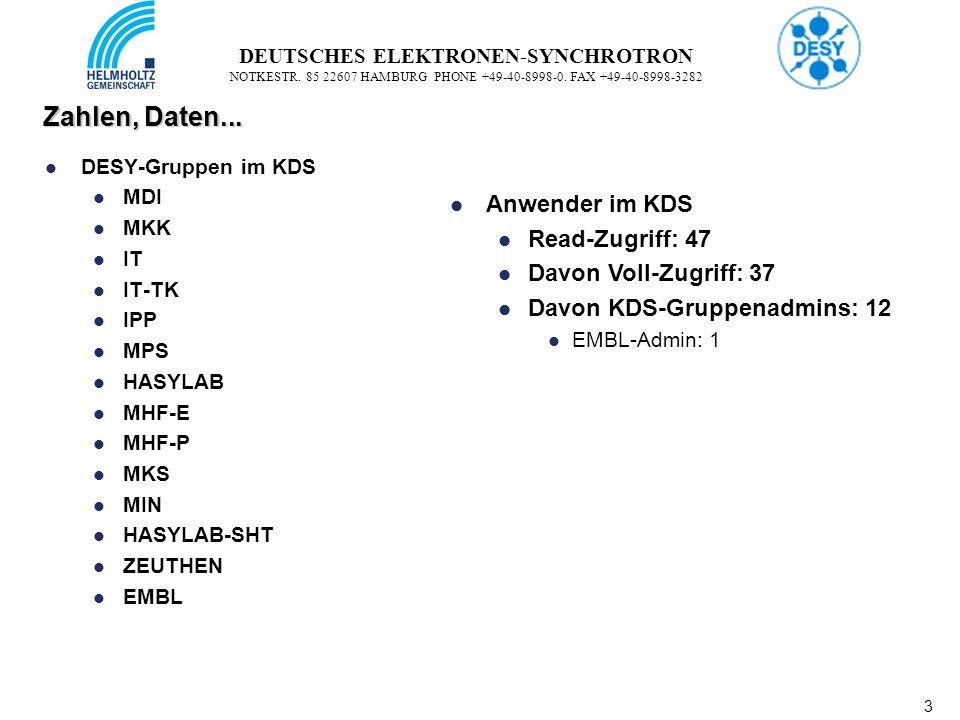 3 3 DEUTSCHES ELEKTRONEN-SYNCHROTRON NOTKESTR. 85 22607 HAMBURG PHONE +49-40-8998-0. FAX +49-40-8998-3282 Zahlen, Daten... DESY-Gruppen im KDS MDI MKK