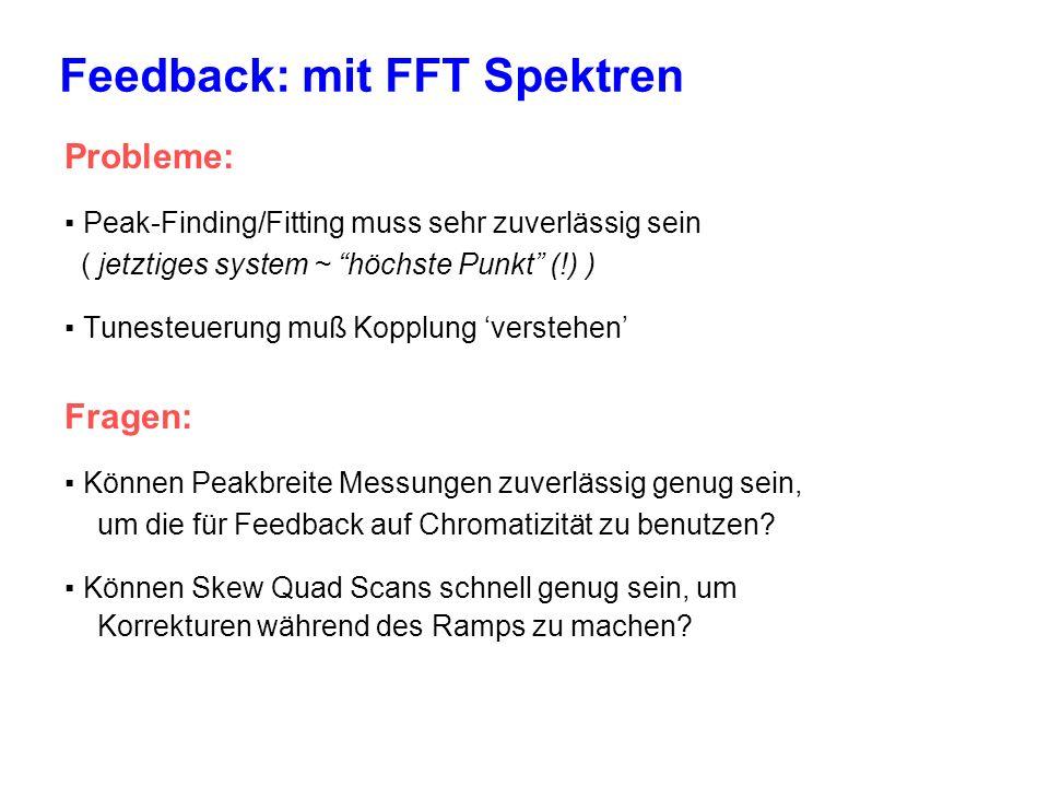 Feedback: mit FFT Spektren Probleme: Peak-Finding/Fitting muss sehr zuverlässig sein ( jetztiges system ~ höchste Punkt (!) ) Tunesteuerung muß Kopplung verstehen Fragen: Können Peakbreite Messungen zuverlässig genug sein, um die für Feedback auf Chromatizität zu benutzen.