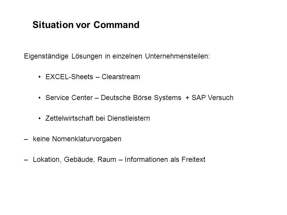 Situation vor Command Eigenständige Lösungen in einzelnen Unternehmensteilen: EXCEL-Sheets – Clearstream Service Center – Deutsche Börse Systems + SAP