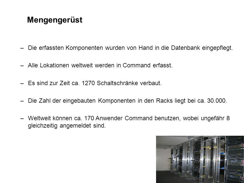 Mengengerüst –Die erfassten Komponenten wurden von Hand in die Datenbank eingepflegt. –Alle Lokationen weltweit werden in Command erfasst. –Es sind zu