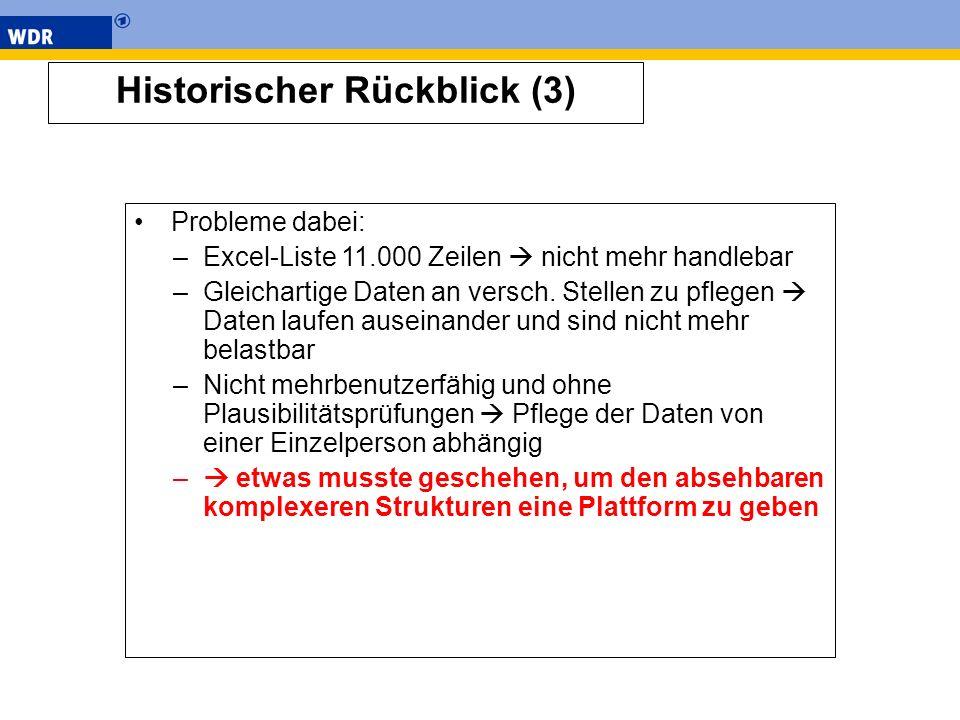 Historischer Rückblick (3) Probleme dabei: –Excel-Liste 11.000 Zeilen nicht mehr handlebar –Gleichartige Daten an versch. Stellen zu pflegen Daten lau