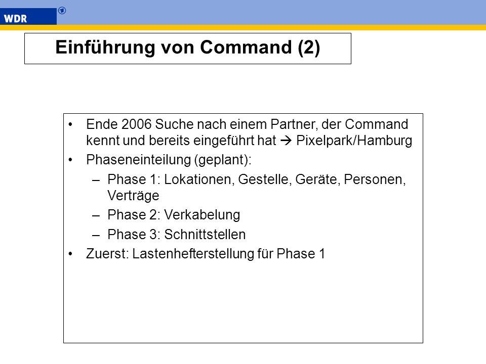 Einführung von Command (2) Ende 2006 Suche nach einem Partner, der Command kennt und bereits eingeführt hat Pixelpark/Hamburg Phaseneinteilung (geplan