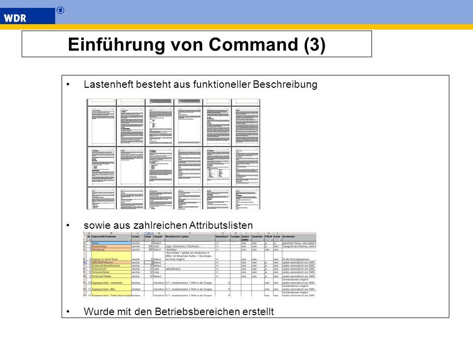 Einführung von Command (3) Lastenheft besteht aus funktioneller Beschreibung sowie aus zahlreichen Attributslisten Wurde mit den Betriebsbereichen ers