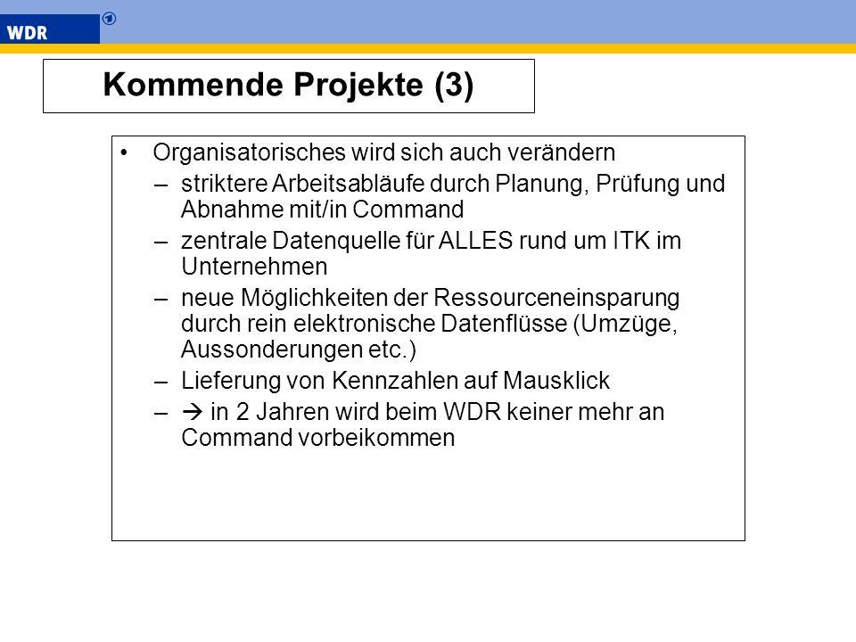 Kommende Projekte (3) Organisatorisches wird sich auch verändern –striktere Arbeitsabläufe durch Planung, Prüfung und Abnahme mit/in Command –zentrale