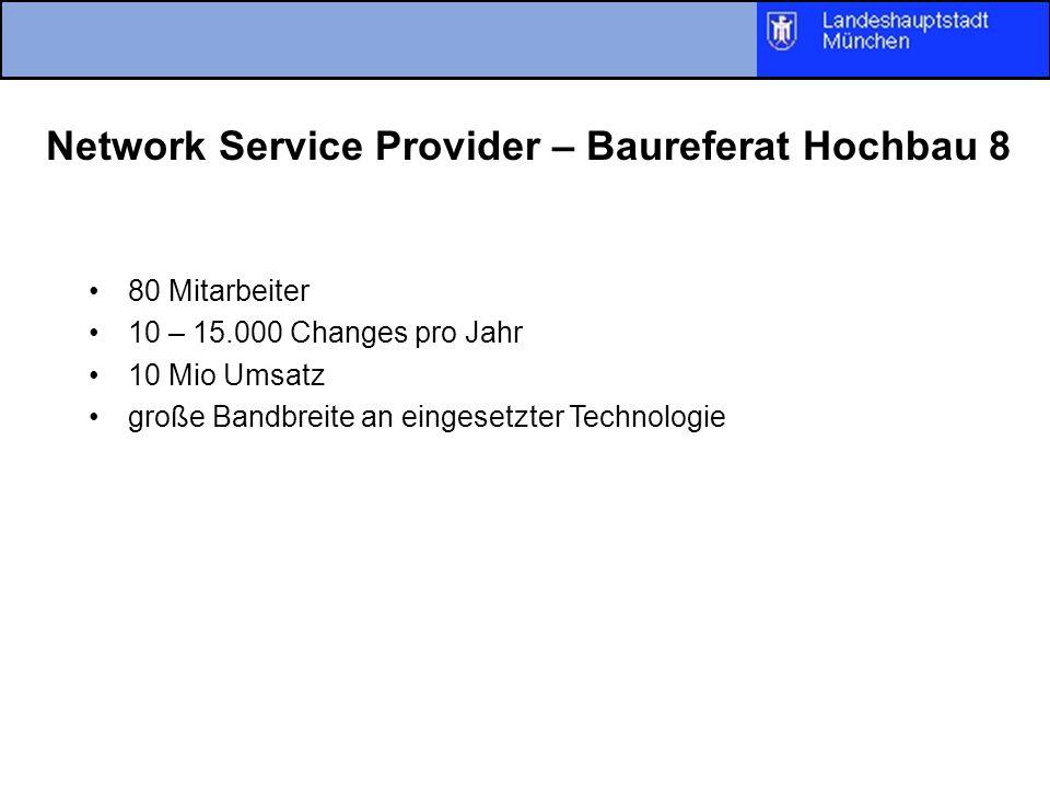 Network Service Provider – Baureferat Hochbau 8 80 Mitarbeiter 10 – 15.000 Changes pro Jahr 10 Mio Umsatz große Bandbreite an eingesetzter Technologie