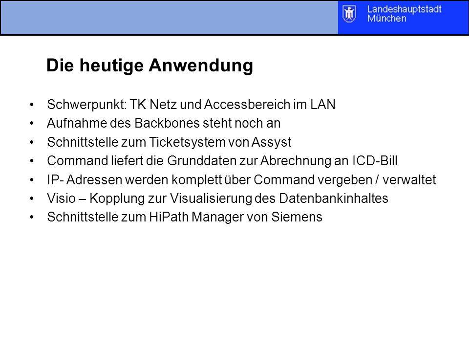 Die heutige Anwendung Schwerpunkt: TK Netz und Accessbereich im LAN Aufnahme des Backbones steht noch an Schnittstelle zum Ticketsystem von Assyst Com