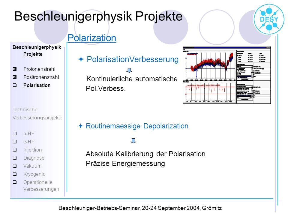 Beschleuniger-Betriebs-Seminar, 20-24 September 2004, Grömitz PolarisationVerbesserung Kontinuierliche automatische Pol.Verbess. Routinemaessige Depol