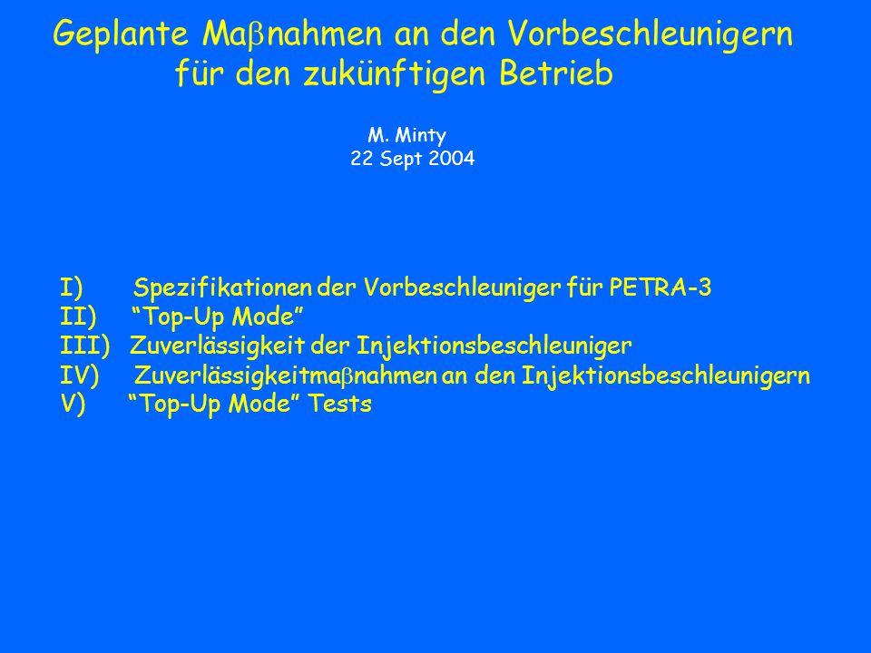 Zuverlässigkeitsma nahmen der Injektionsbeschleuniger: DESY-2 Vakuum Systeme schon getroffene Ma nahmen: Ersatz diverser Vakuum Ventil Elektroniken (2000/2001) Ersatz aller Asbest-enthaltenden Vakuumpumpen (2003) Messrohraustausch in DESY-2 sowie in den L- und E-Wegen (2004) geplante Ma nahmen: Erstellung einiger Ersatzkammern (2004+) Trennung der DESY2/3 Vakuumsysteme die DESY-2 Vakuumkammer Beispiel Kreuzkammer Diagnostik geplante Ma nahmen: Effizienzanzeige zwischen Ende des L-Weges und DESY-2 DESY-2 Nebenbunchmonitor?