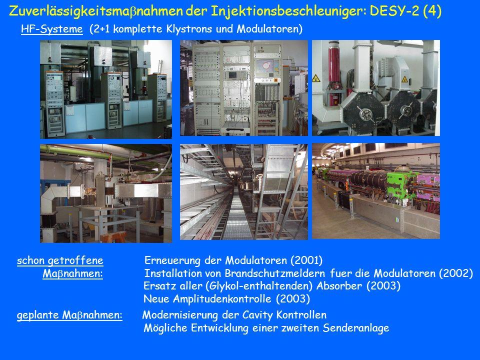 Zuverlässigkeitsma nahmen der Injektionsbeschleuniger: DESY-2 (4) HF-Systeme (2+1 komplette Klystrons und Modulatoren) schon getroffene Erneuerung der
