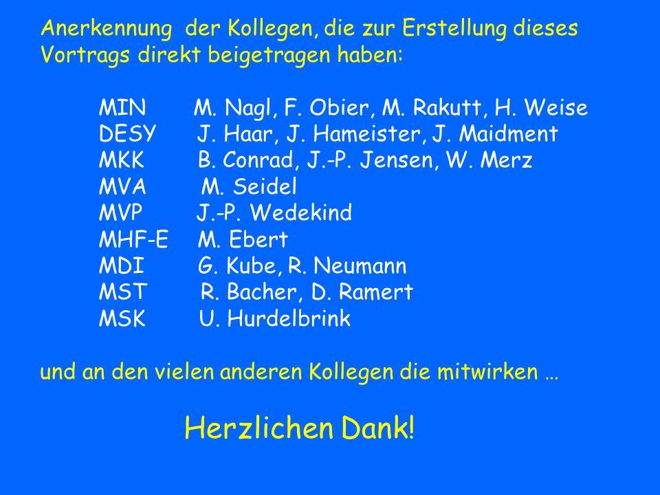 Anerkennung der Kollegen, die zur Erstellung dieses Vortrags direkt beigetragen haben: MIN M. Nagl, F. Obier, M. Rakutt, H. Weise DESY J. Haar, J. Ham