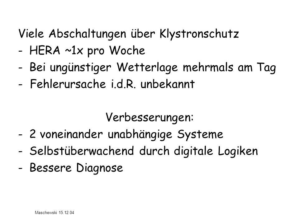 Viele Abschaltungen über Klystronschutz -HERA ~1x pro Woche -Bei ungünstiger Wetterlage mehrmals am Tag - Fehlerursache i.d.R. unbekannt Verbesserunge