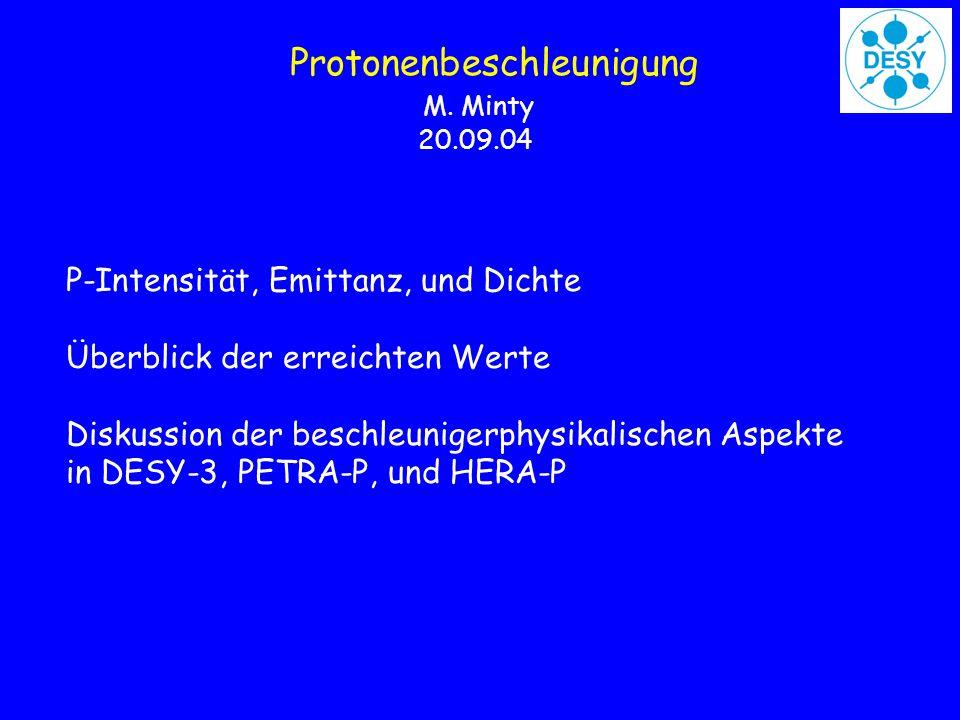 Protonenbeschleunigung M. Minty 20.09.04 P-Intensität, Emittanz, und Dichte Überblick der erreichten Werte Diskussion der beschleunigerphysikalischen
