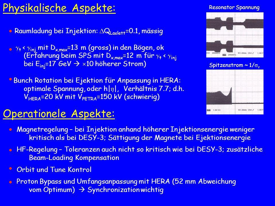 Raumladung bei Injektion: Q Laslett =0.1, mässig t < inj mit D x,max =13 m (gross) in den Bögen, ok (Erfahrung beim SPS mit D x,max =12 m für t < inj