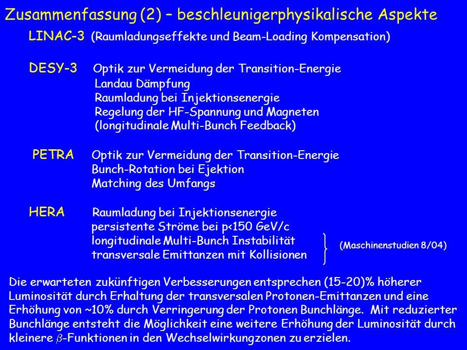 Zusammenfassung (2) – beschleunigerphysikalische Aspekte LINAC-3 (Raumladungseffekte und Beam-Loading Kompensation) DESY-3 Optik zur Vermeidung der Tr