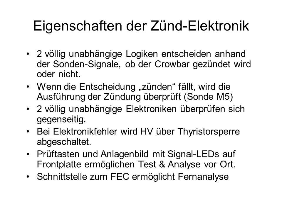 Eigenschaften der Zünd-Elektronik 2 völlig unabhängige Logiken entscheiden anhand der Sonden-Signale, ob der Crowbar gezündet wird oder nicht. Wenn di