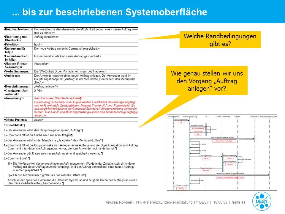 Andrea Robben   FNT-Referenzkundenveranstaltung am DESY   18.06.09   Seite 11... bis zur beschriebenen Systemoberfläche Wie genau stellen wir uns den