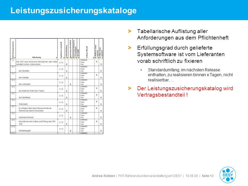 Andrea Robben   FNT-Referenzkundenveranstaltung am DESY   18.06.09   Seite 13 Leistungszusicherungskataloge > Tabellarische Auflistung aller Anforderu