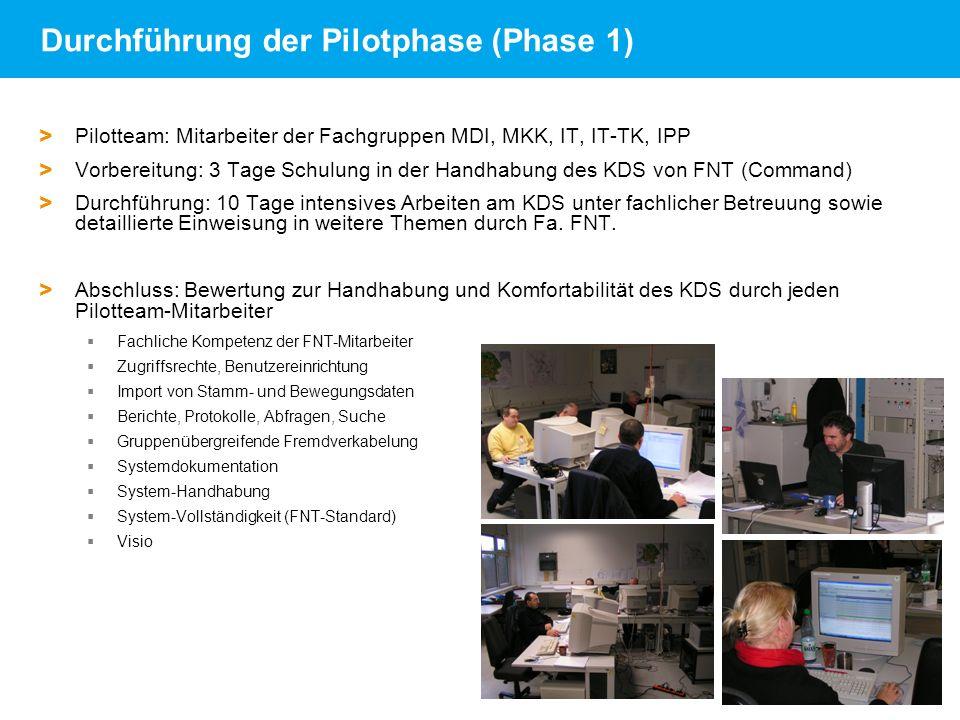 Andrea Robben   FNT-Referenzkundenveranstaltung am DESY   18.06.09   Seite 19 Durchführung der Pilotphase (Phase 1) > Pilotteam: Mitarbeiter der Fachg