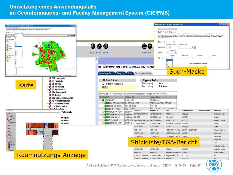 Andrea Robben   FNT-Referenzkundenveranstaltung am DESY   18.06.09   Seite 27 Umsetzung eines Anwendungsfalls im Geoinformations- und Facility Managem