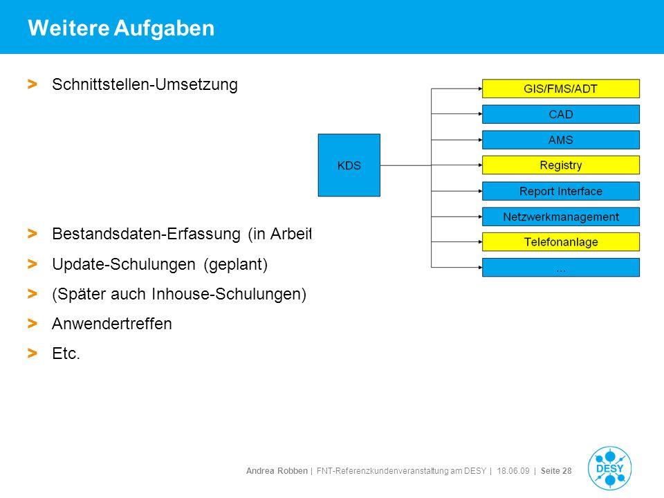 Andrea Robben   FNT-Referenzkundenveranstaltung am DESY   18.06.09   Seite 28 Weitere Aufgaben > Schnittstellen-Umsetzung > Bestandsdaten-Erfassung (i