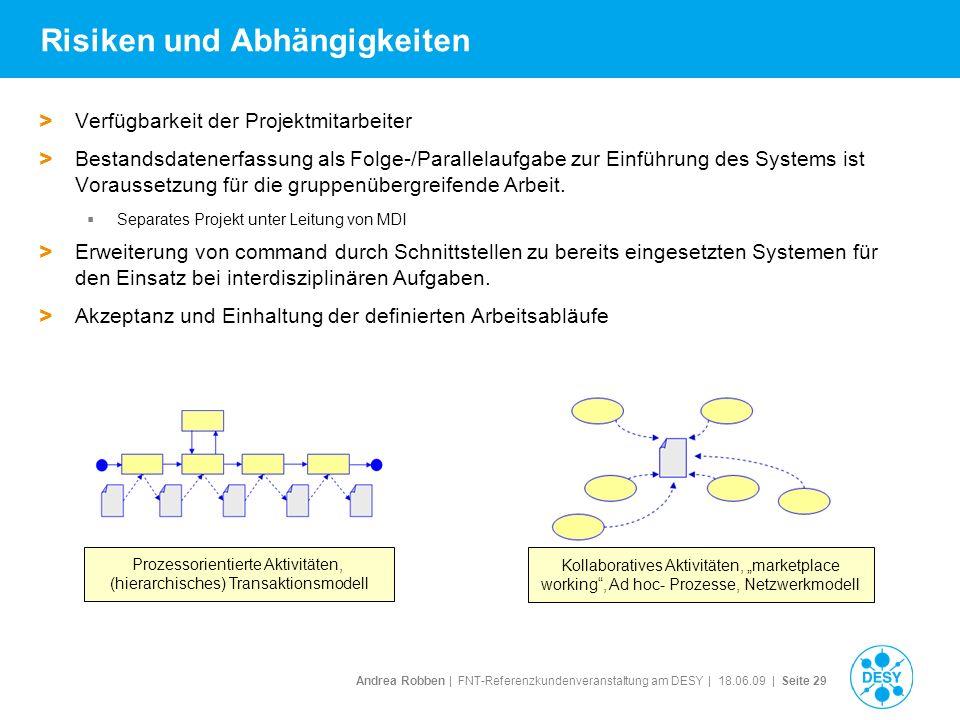 Andrea Robben   FNT-Referenzkundenveranstaltung am DESY   18.06.09   Seite 29 Risiken und Abhängigkeiten > Verfügbarkeit der Projektmitarbeiter > Best