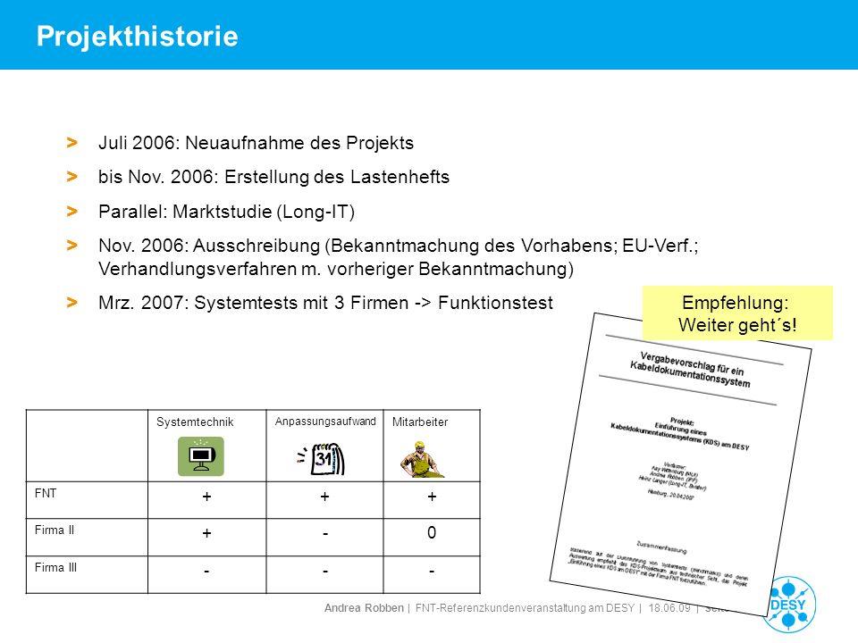 Andrea Robben   FNT-Referenzkundenveranstaltung am DESY   18.06.09   Seite 6 Projekthistorie Systemtechnik Anpassungsaufwand Mitarbeiter FNT +++ Firma