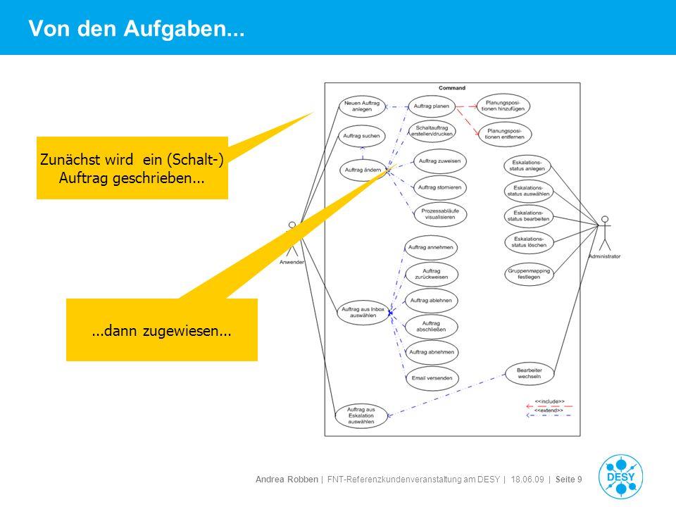 Andrea Robben   FNT-Referenzkundenveranstaltung am DESY   18.06.09   Seite 9 Von den Aufgaben... Zunächst wird ein (Schalt-) Auftrag geschrieben......