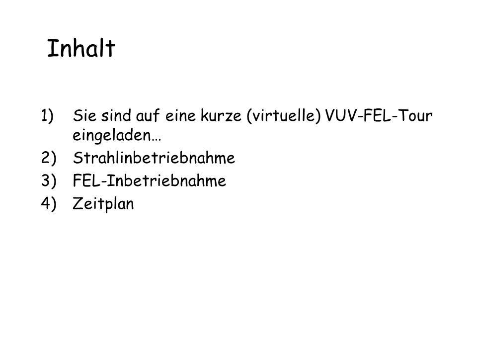 Inhalt 1)Sie sind auf eine kurze (virtuelle) VUV-FEL-Tour eingeladen… 2)Strahlinbetriebnahme 3)FEL-Inbetriebnahme 4)Zeitplan