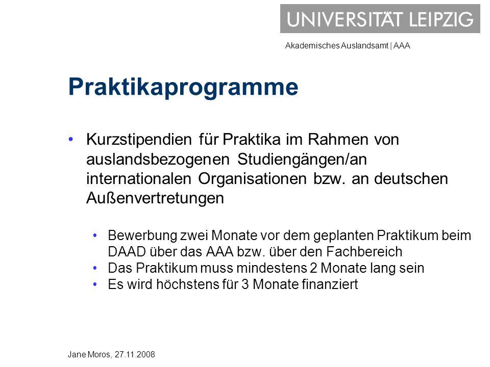Akademisches Auslandsamt | AAA Praktikaprogramme Kurzstipendien für Praktika im Rahmen von auslandsbezogenen Studiengängen/an internationalen Organisa