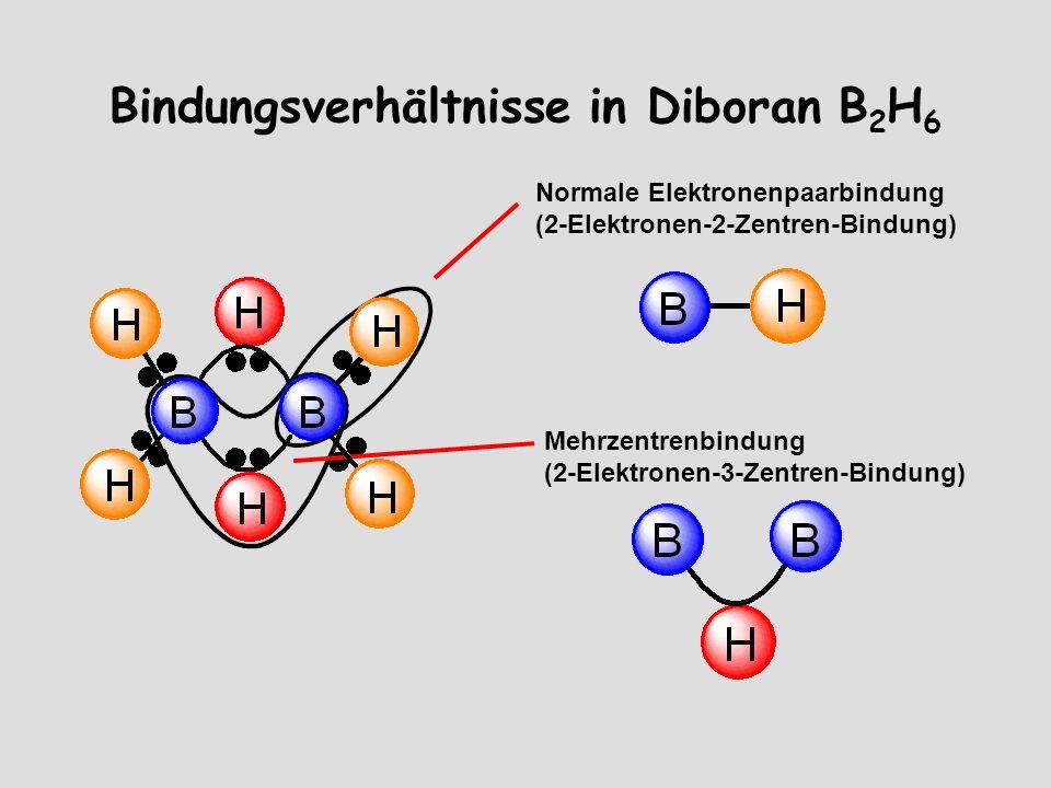 Bindungsverhältnisse in Diboran B 2 H 6 Normale Elektronenpaarbindung (2-Elektronen-2-Zentren-Bindung) Mehrzentrenbindung (2-Elektronen-3-Zentren-Bindung)