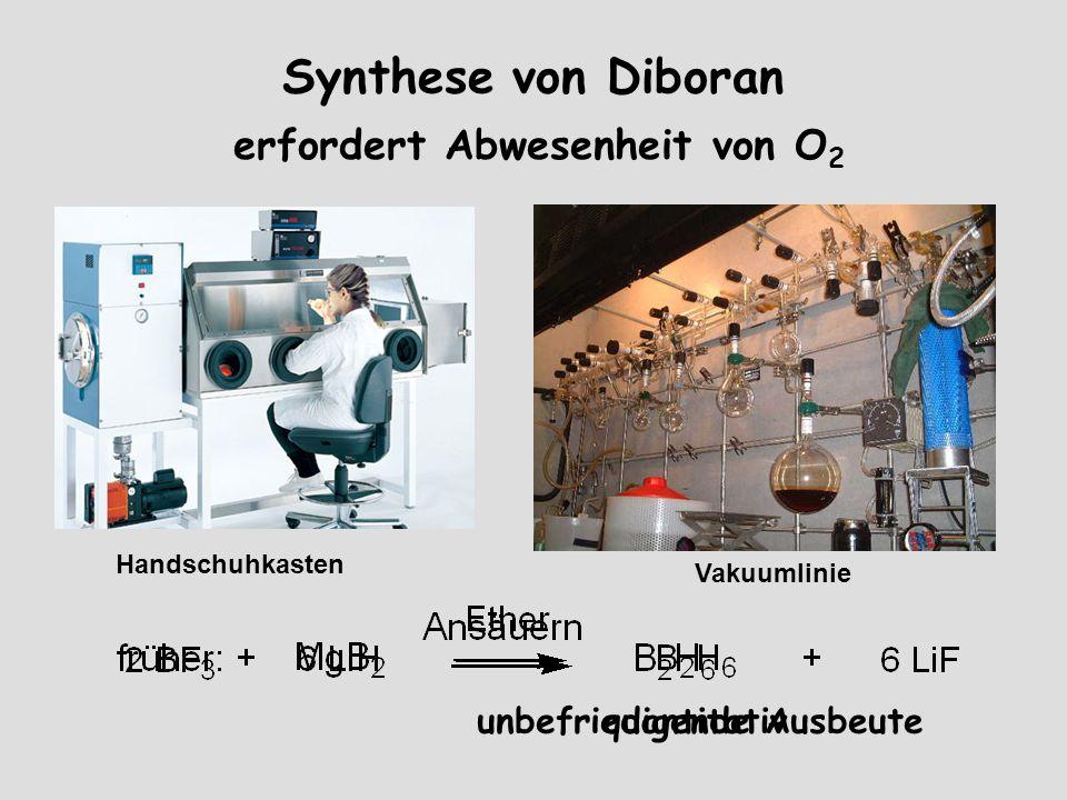 Synthese von Diboran erfordert Abwesenheit von O 2 Handschuhkasten Vakuumlinie quantitativunbefriedigende Ausbeute
