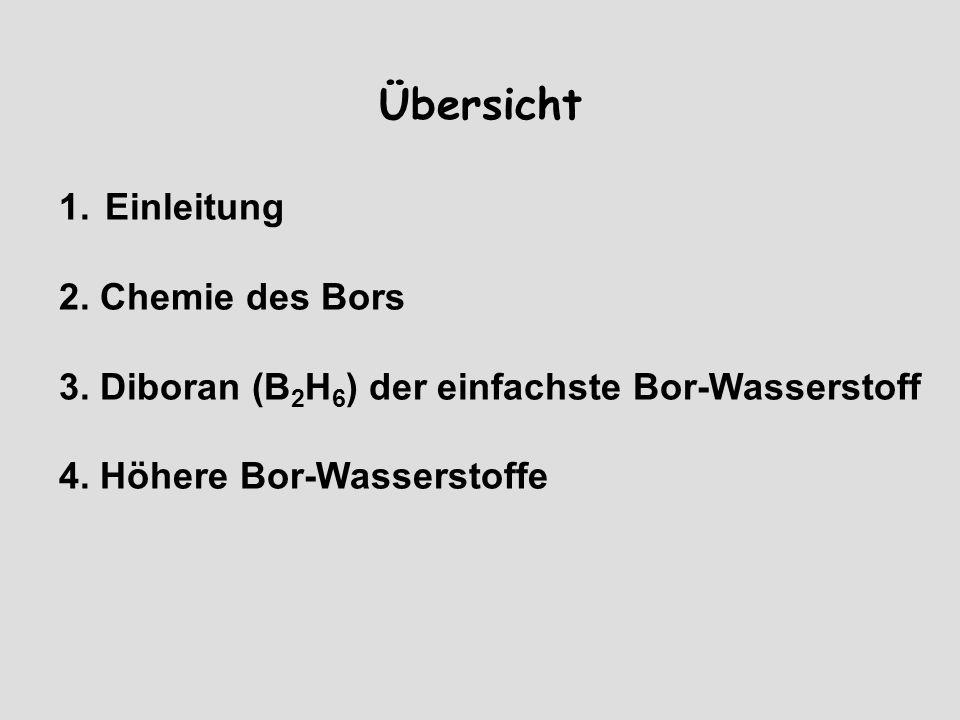 Übersicht 1.Einleitung 2. Chemie des Bors 3. Diboran (B 2 H 6 ) der einfachste Bor-Wasserstoff 4.