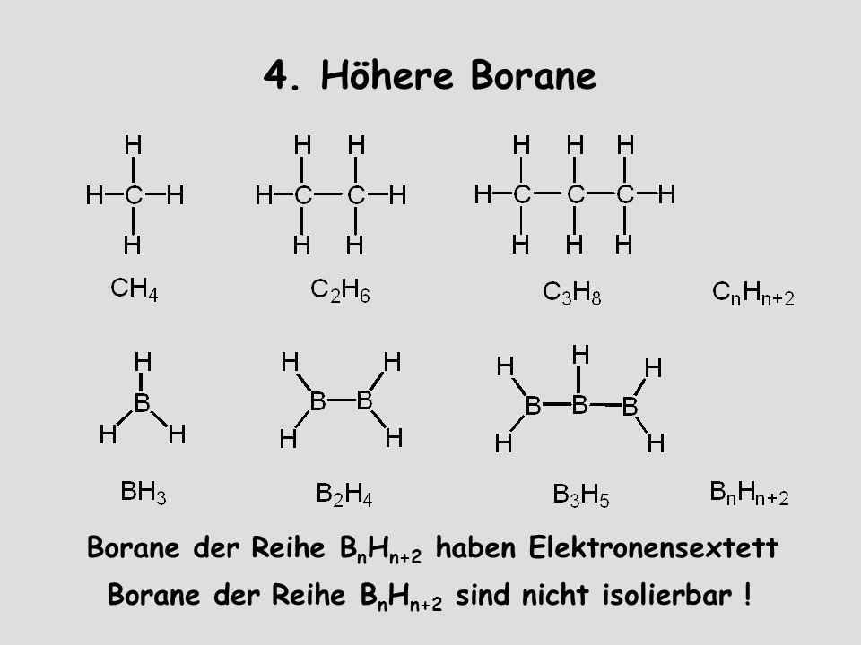 4. Höhere Borane Borane der Reihe B n H n+2 haben Elektronensextett Borane der Reihe B n H n+2 sind nicht isolierbar !