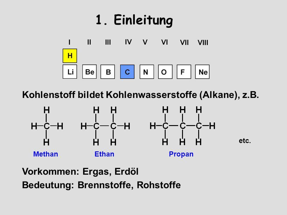 1.Einleitung Kohlenstoff bildet Kohlenwasserstoffe (Alkane), z.B.