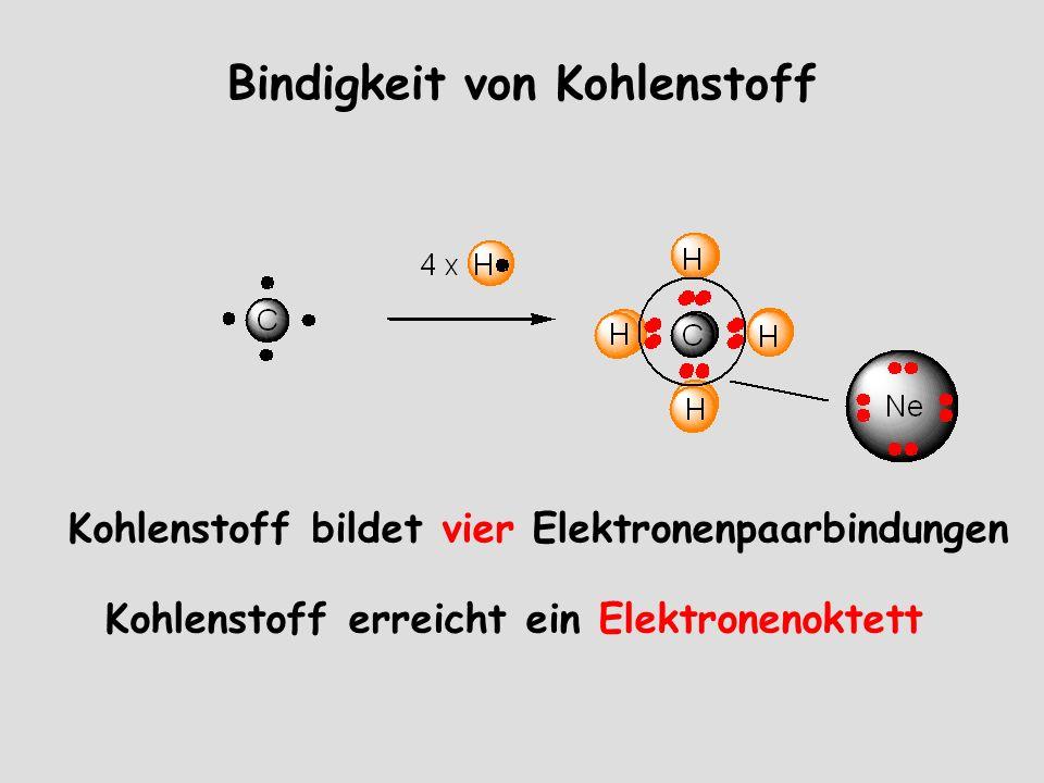 Bindigkeit von Kohlenstoff Kohlenstoff bildet vier Elektronenpaarbindungen Kohlenstoff erreicht ein Elektronenoktett