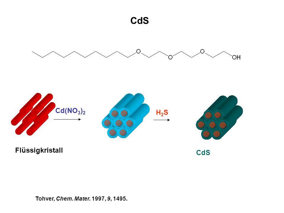 CdS Flüssigkristall Cd(NO 3 ) 2 H2SH2S CdS Tohver, Chem. Mater. 1997, 9, 1495.