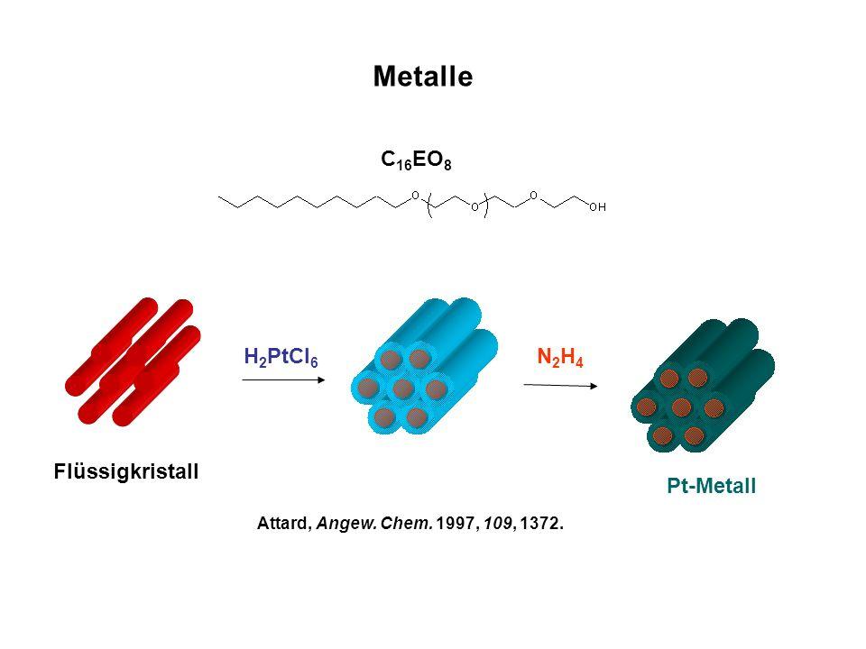 Metalle Flüssigkristall H 2 PtCl 6 N2H4N2H4 Pt-Metall C 16 EO 8 Attard, Angew. Chem. 1997, 109, 1372.