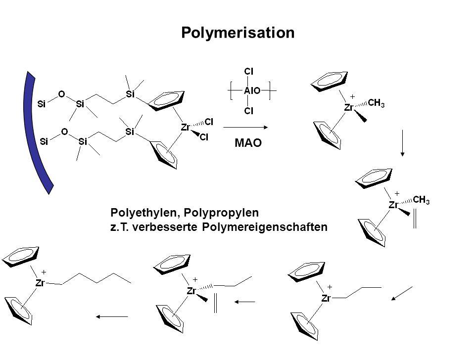 Polymerisation MAO Polyethylen, Polypropylen z.T. verbesserte Polymereigenschaften