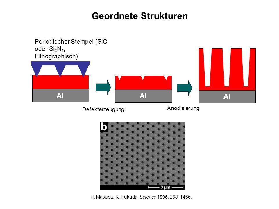 Geordnete Strukturen Al Periodischer Stempel (SiC oder Si 3 N 4, Lithographisch) Al Defekterzeugung Anodisierung Al H. Masuda, K. Fukuda, Science 1995