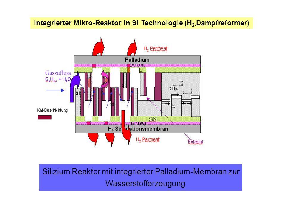 Integrierter Mikro-Reaktor in Si Technologie (H 2- Dampfreformer) Silizium Reaktor mit integrierter Palladium-Membran zur Wasserstofferzeugung