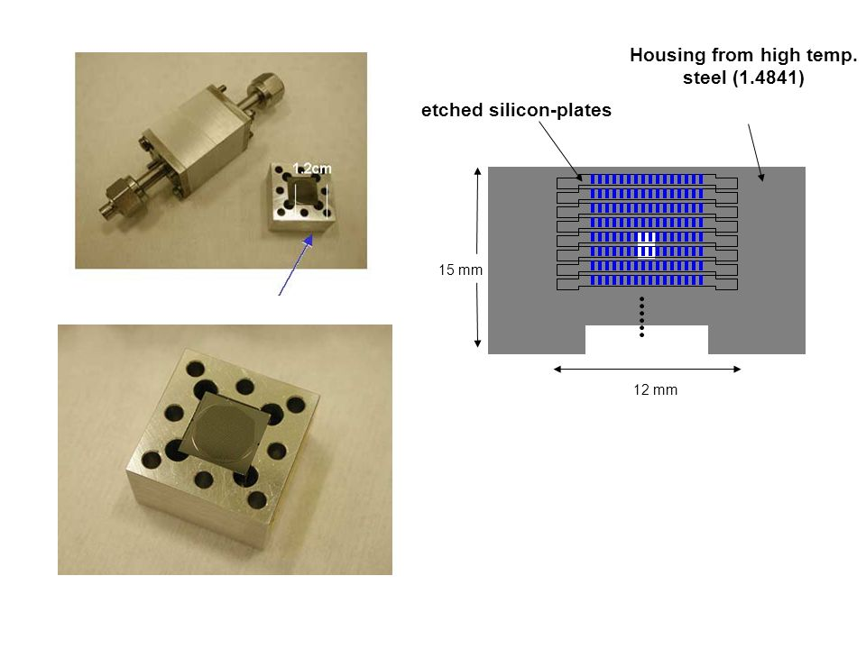 etched silicon-plates Housing from high temp. steel (1.4841) 15 mm 12 mm