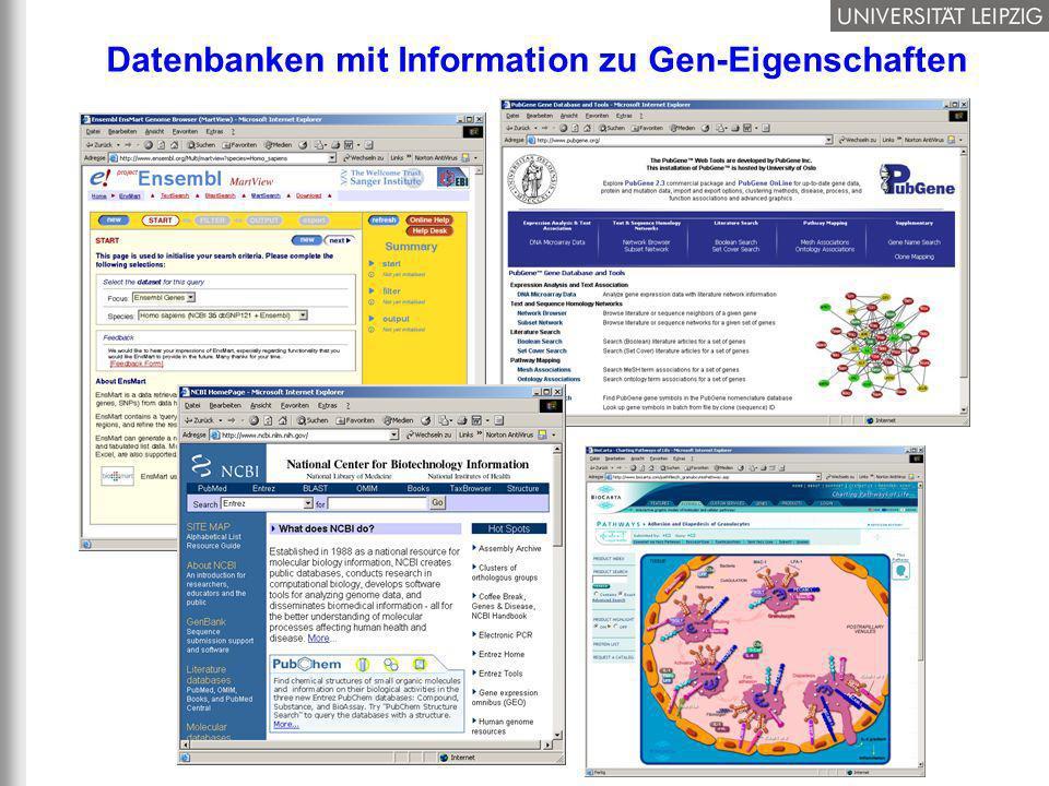 Datenbanken mit Information zu Gen-Eigenschaften