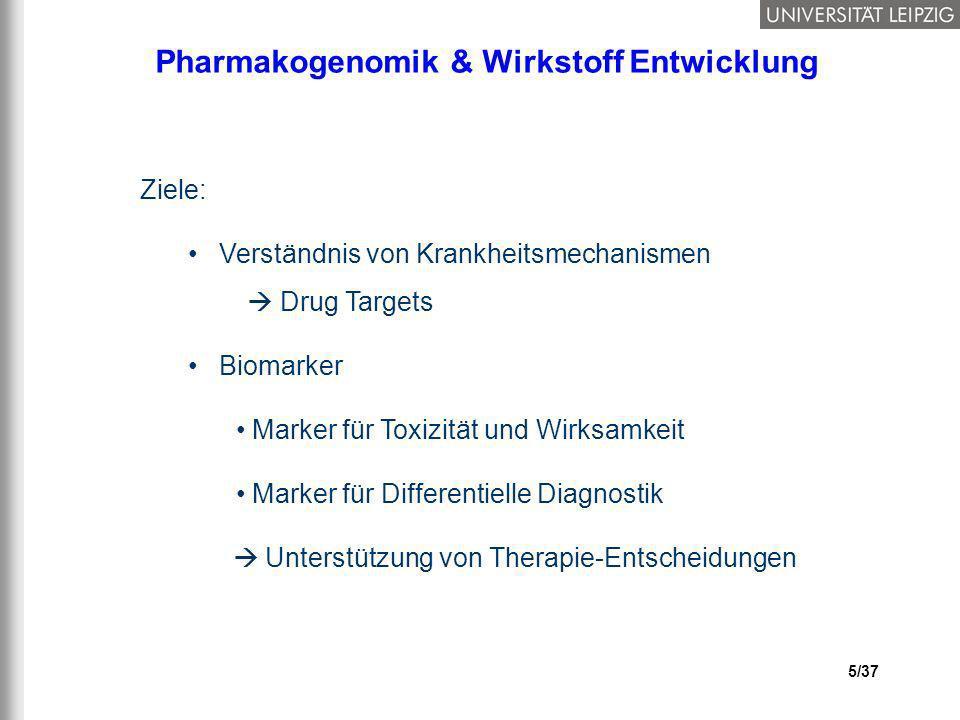 5/37 Pharmakogenomik & Wirkstoff Entwicklung Ziele: Verständnis von Krankheitsmechanismen Drug Targets Biomarker Marker für Toxizität und Wirksamkeit