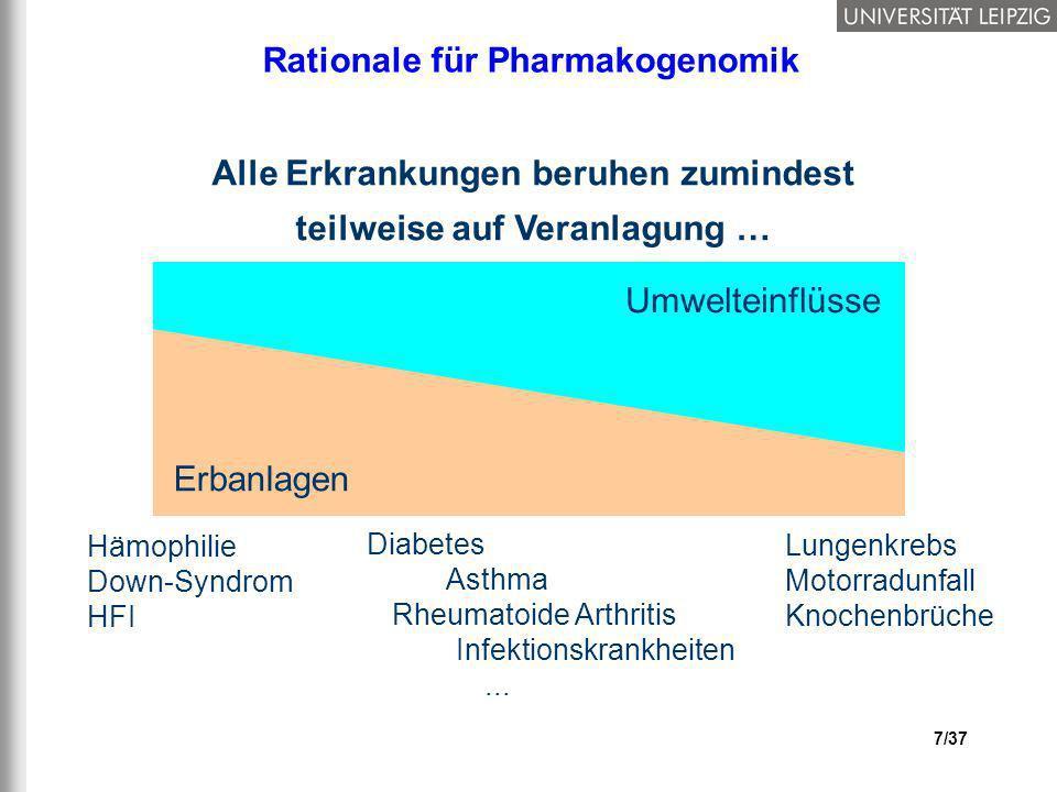 7/37 Rationale für Pharmakogenomik Alle Erkrankungen beruhen zumindest teilweise auf Veranlagung … Erbanlagen Umwelteinflüsse Hämophilie Down-Syndrom