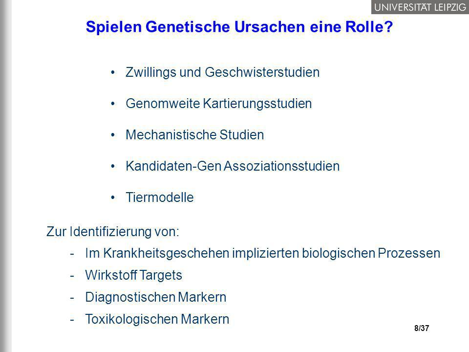 29/37 Clinical Bar CodesGenetic Bar Codes Patient 1 Patient 2 Patient 3 Schrittweise Progressive Regression Klassifikation (Support Vector Machines, Neuronale Netze) Mustererkennung Musteranalysen
